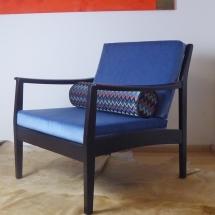 niedriger Sessel, Vintagesessel, Lounge chair, schwarzer Sessel